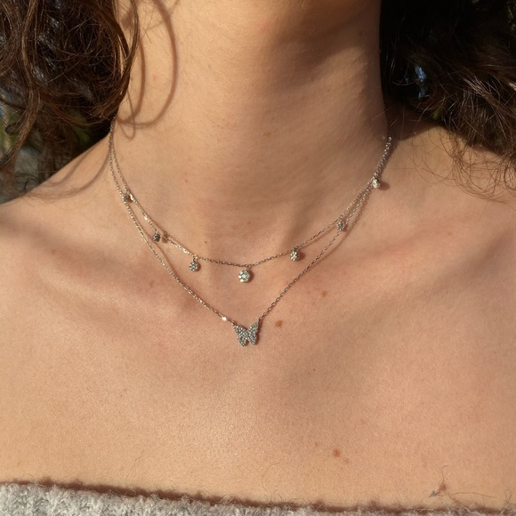 Butterfly diamond necklace